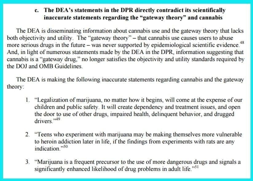 request from ASA to Deapartment of Justice regarding DEA marijuana information
