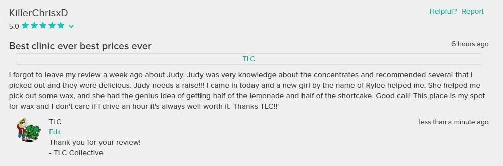 TLC Customer Review From WeedMaps