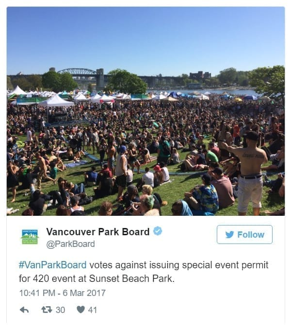 Vanouver Park Board denies special event permit for annual 4/20 celebrations