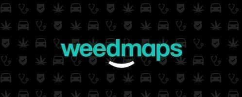 Weedmaps homepage and logo