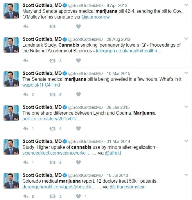 Scott Gottlieb tweets on Marijuana