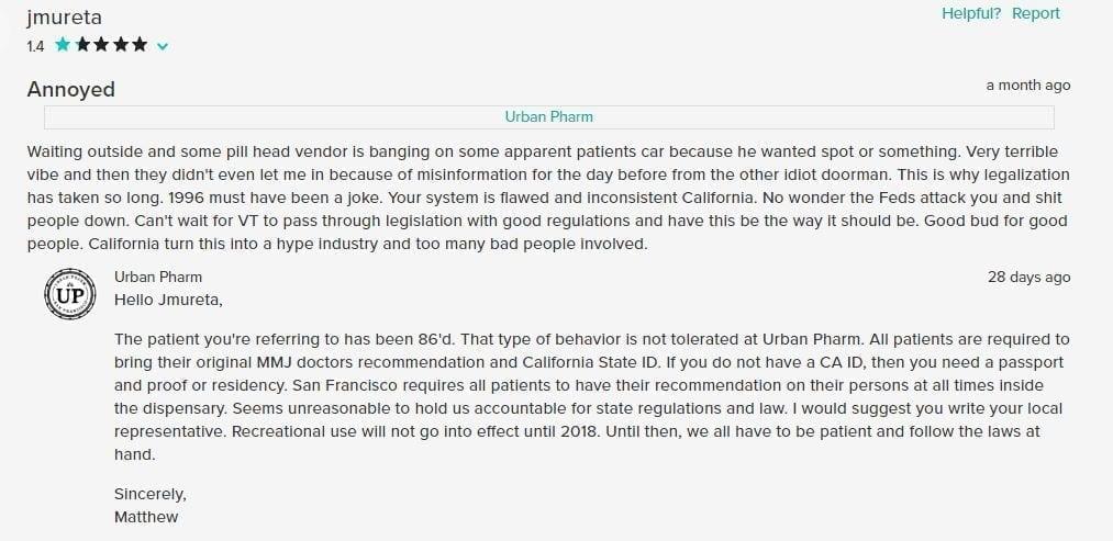 Urban Pharms Negative Customer Review