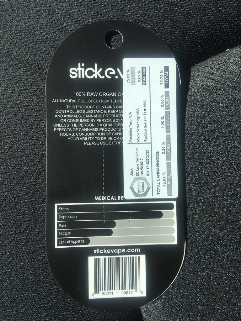 stick e vape back of packaging
