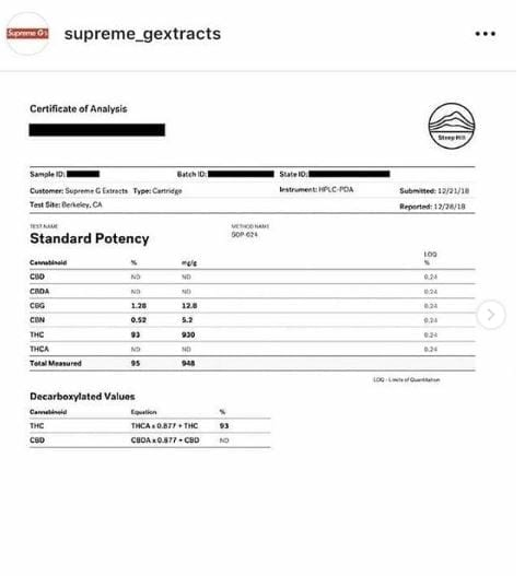 supreme g extracts thc cartridge lab result california