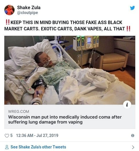 irate tweet from a hospital lung damage