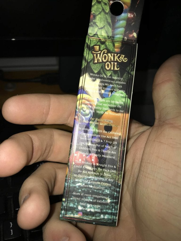 Wonka oil fake vape cart packaging