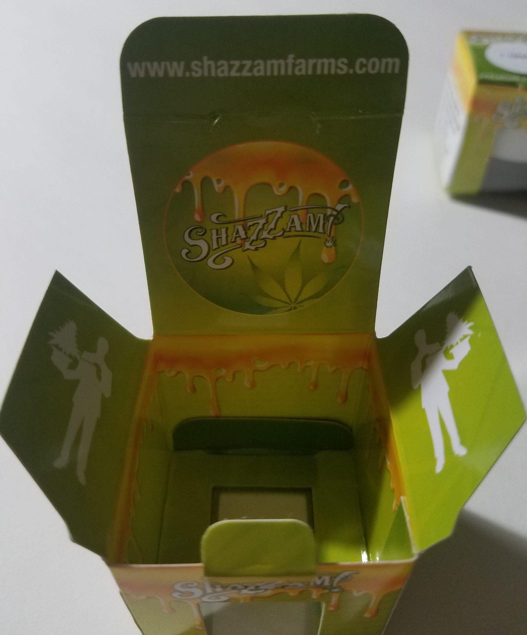 Shazzam Farms packaging open