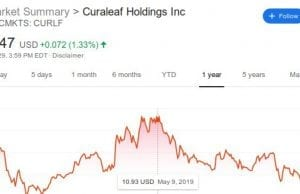 Curaleaf stock record for year ending October 2019